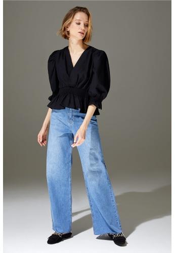 DeFacto black Short Sleeve Cotton Blouse 39893AAD6E54D0GS_1