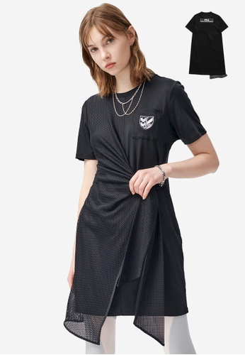 FILA black FILA x White Mountaineering Asymmetric Net Patchwork Dress 8BF30AA94CDB02GS_1