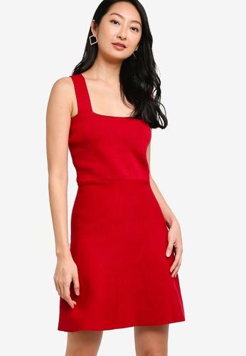 ZALORA BASICS red Thick Straps Knit Dress 509BBAAD210119GS_1