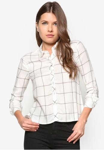 後開衩格紋zalora 衣服尺寸長袖襯衫, 服飾, 服飾