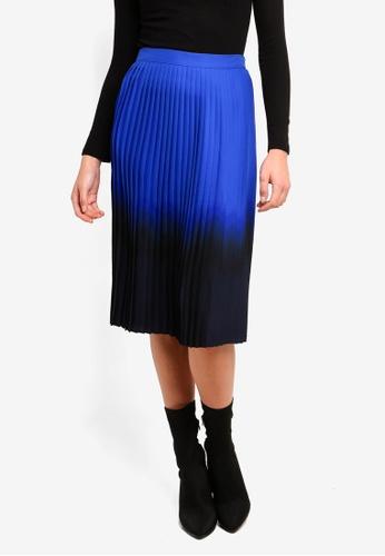 DKNY blue and navy Pleated Skirt B2D1DAA3F82790GS_1