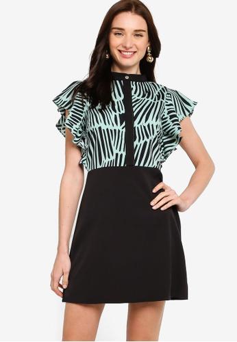 ZALORA black and green Ruffle Sleeves A-Line Dress 6C89FAAC04E5CAGS_1