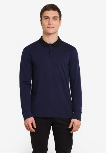 Selected Homme navy Dante Long Sleeve Polo Shirt SE364AA0SE4EMY_1