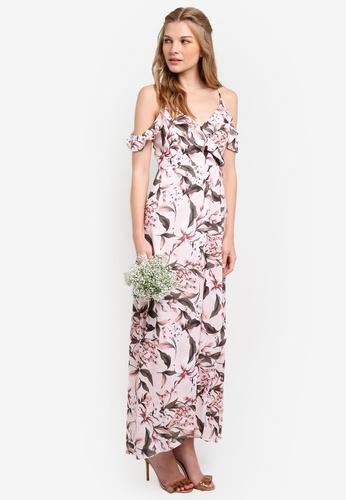 ZALORA pink Bridesmaid Cold Shoulder Maxi Dress 48295AA36E7E51GS_1