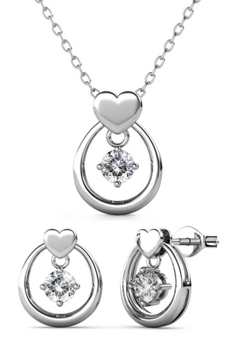 Her Jewellery silver Love Drop Set (White Gold) - Made with premium grade crystals from Austria 60121ACD85544AGS_1
