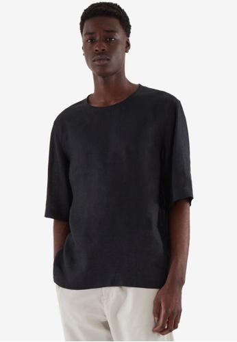 COS black Relaxed-Fit Hemp T-Shirt 93A39AA0C9D77EGS_1