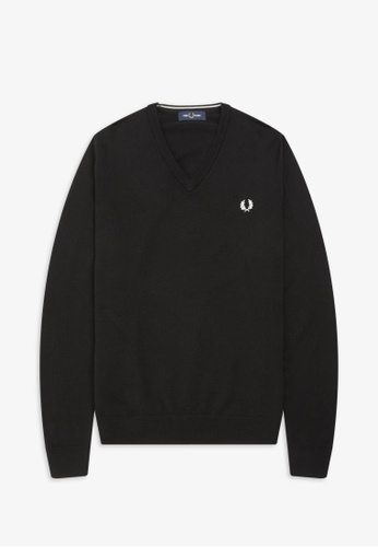 Fred Perry black K7600 - Classic Merino V Neck Jumper - (Black) 6023BAA0680D9EGS_1
