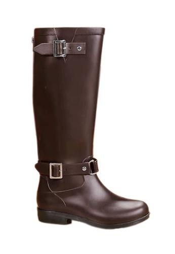Twenty Eight Shoes brown Zipper Long riding Rain Boot VF01 11586SHCD81C6CGS_1