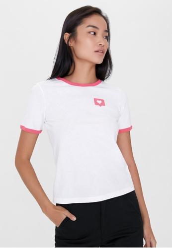 Pomelo white Heart Graphic Tee - White F39B4AA88F5E8DGS_1