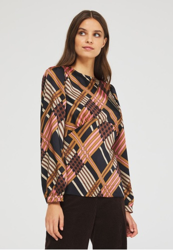 Sisley multi Printed Round Neck Blouse 9054EAAA646359GS_1