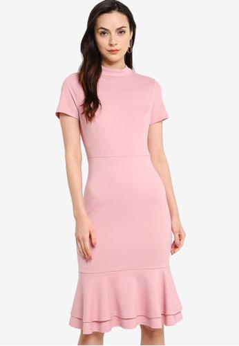 ZALORA WORK pink Short Sleeves Fluted Hem Dress 9C567AADBBF670GS_1