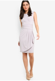 c4d57e28d2 ZALORA Pleated Overlap Sheath Dress S  39.90. Sizes XS S M L XL