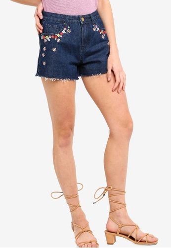 Something Borrowed blue Embroidered Frayed Hem Denim Shorts BB526AAA9042FAGS_1