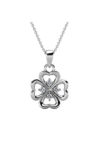 Her Jewellery silver Clover Heart Pendant (White Gold) - Made with premium grade crystals from Austria 3B8A4AC300C003GS_1