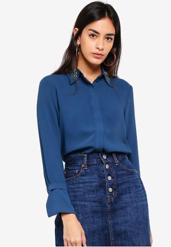 ESPRIT blue Woven Long Sleeve Shirt 8F9D2AA2958510GS_1