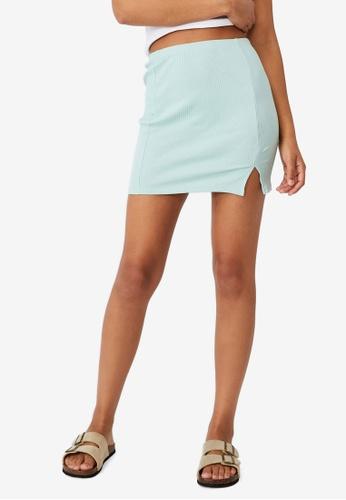 Cotton On blue Streamline Ribbed Mini Skirt 8BFEAAAC6D4EEAGS_1