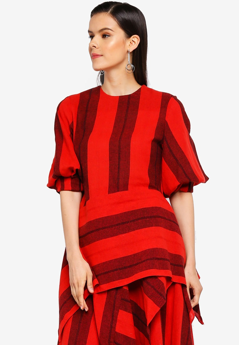 Top AfiqM Sleeve Cocoon Striped Red qcTSg1w