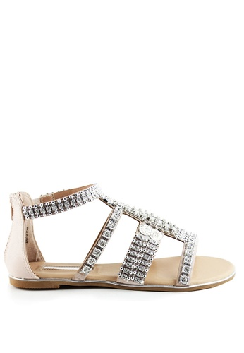 London Rag beige Stormie T-Strap Gladiator Sandals BEE33SH6AE1C96GS_1