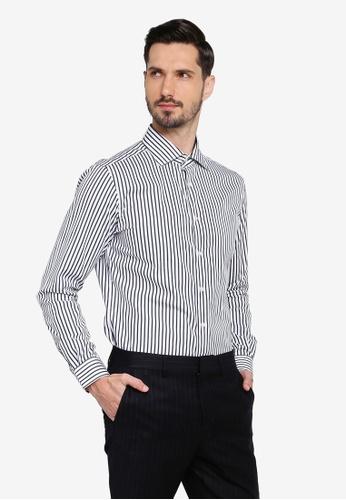 Gay Giano navy Slim Fit Pinstripe Wide Spread Collar Cotton Dress Shirt C914DAA8447663GS_1