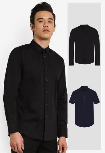 ZALORA black and navy 2 Pack Slim Fit Cotton Poplin Short & Long Sleeve Shirt ZA819AA0RO0QMY_1