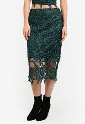 River Island green Floral Mesh Pencil Skirt RI009AA0S9UVMY_1