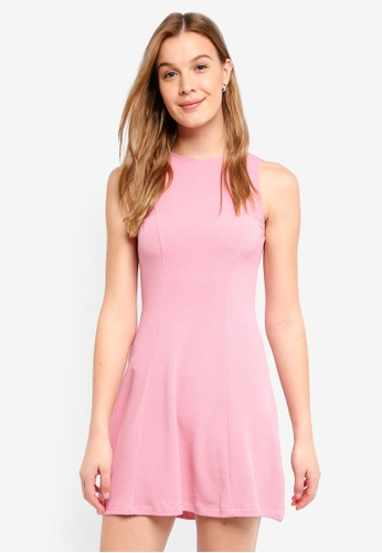 ZALORA BASICS pink Textured Swing Dress 53DC3AA08FE3E0GS_1