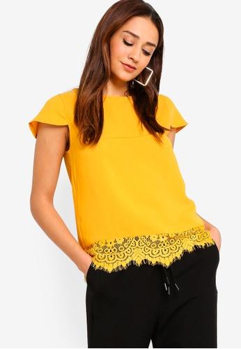 ZALORA yellow Lace Hem Top 22645AAD51E387GS_1