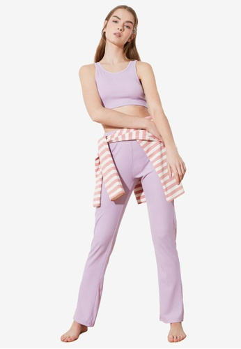 Trendyol purple 2-Piece Knit Crop Top and Bottom Set FB623AAC9891FAGS_1