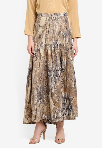 Nuraini brown Isabella Skirt NU222AA0SS46MY_1