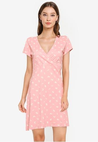 Cotton On pink Bessie Cross Over Mini Dress 10CBAAAFE851D4GS_1