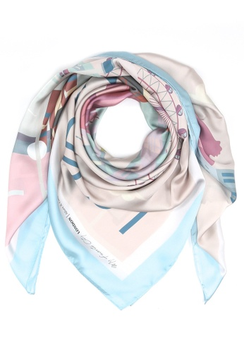 "Modest-Runway Inc. multi and beige ALLURA ""The British Charm"" River Thames COTTON Scarf/Hijab 5C41BAACED057CGS_1"