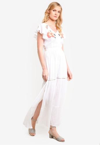 ZALORA white V Neck Embroidered Maxi Dress 4D0EEAA9106A6AGS_1