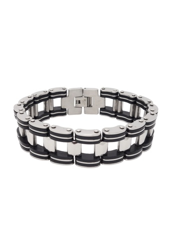 Jaysa Collection silver Stainless Steel Rail Tracks Bracelet with Silicon Links JA875AC21IJMSG_1