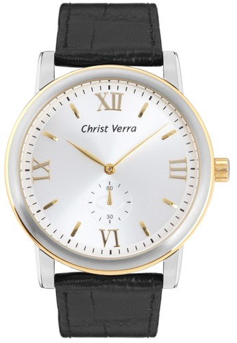 Christ Verra Fashion Men's Watch CV 52049G-23 SLV/BLK White Black Silver Gold Leather