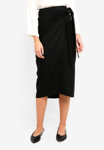 Mango black Bow Detail Pencil Skirt 3F854AA88162D9GS_1