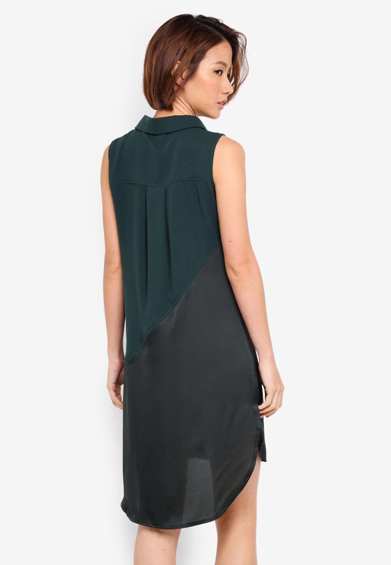 Contrast Fabric Dress Dress Contrast ZALORA Forest ZALORA Forest Contrast Fabric Dress ZALORA Fabric xwg0Z6q