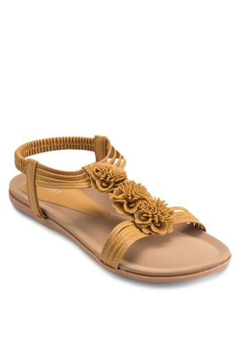 花飾踝帶平esprit 台中底涼鞋, 女鞋, 涼鞋