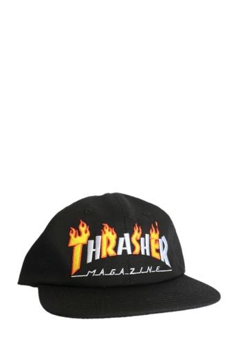 92b0f9451a4 Thrasher black Thrasher Flame Mag Snapback Black 57818ACF920963GS 1