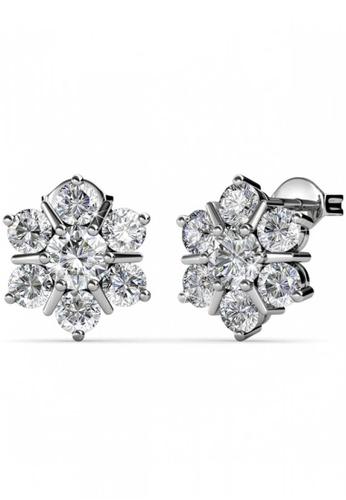 Her Jewellery silver Swarovski® Crystals -Flowery Earrings (18K White Gold Plated) Her Jewellery HE581AC0RDQRMY_1