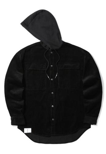 izzue black Corduroy hooded shirt 5986EAA5B2C078GS_1