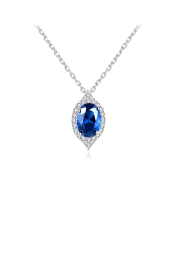 Glamorousky white 925 Sterling Silver Simple and Elegant Geometric Water Drop Shape Pendant with Blue Cubic Zirconia and Necklace 74120AC23D93BFGS_1