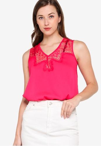 GUESS pink Sleeveless Mariam Top 3A298AAFACB10EGS_1