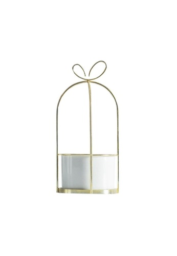 DILAS HOME white Ribbon Gift-shaped Gold Plant Pot (White) - Small 116D0HL7A89D05GS_1