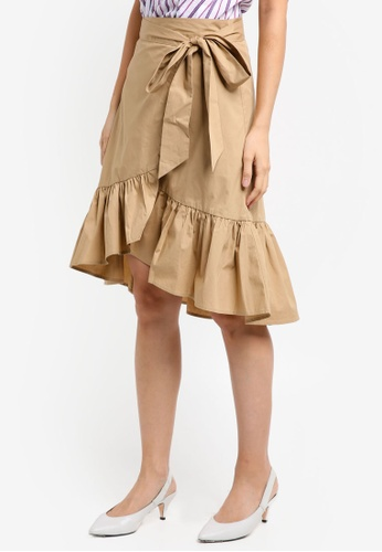 ZALORA brown Wrap Skirt With Tie D3CA9AAC537579GS_1