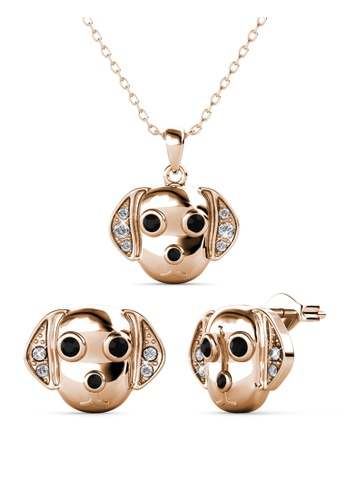 Her Jewellery gold Beagle Set (Rose Gold) -  Embellished with Crystals from Swarovski® CD231AC92A9A06GS_1