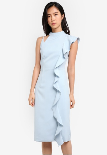 ZALORA blue Studio Asymmetric Ruffle Midi Dress 188D6AAAEA96B4GS_1