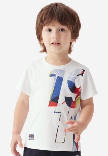 FILA white FILA KIDS 1911 Multi Color Print Cotton T-shirt 3-9yrs 47E77KA3658CE8GS_1