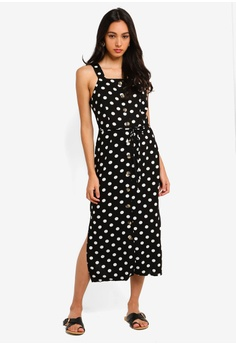 53e03618a3fa19 10% OFF Miss Selfridge Black Spot Print Pinafore Dress S  99.90 NOW S   89.90 Available in several sizes