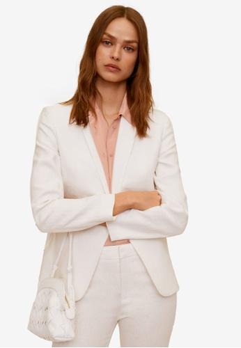 Mango white Linen Button Blazer D7627AAFD70160GS_1