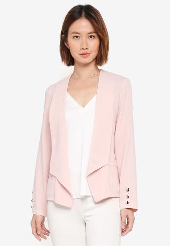 Wallis pink Petite Blush Button Blazer C864AAA7D27FF8GS_1